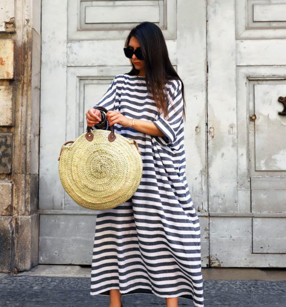 Striped Maxi Dress and Straw Bag