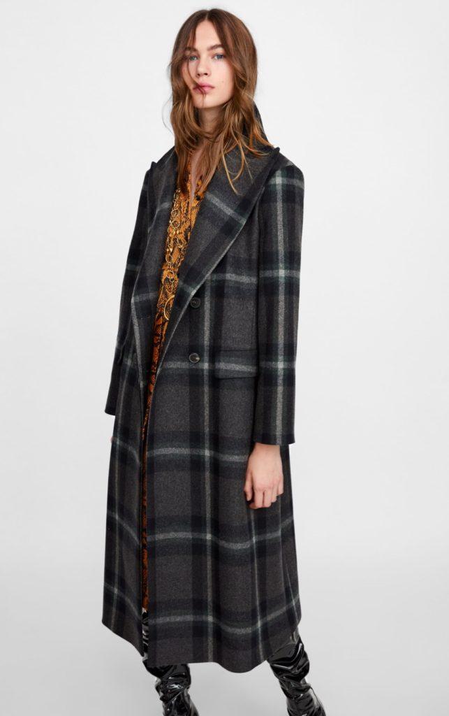 cappotto lungo a quadri zara