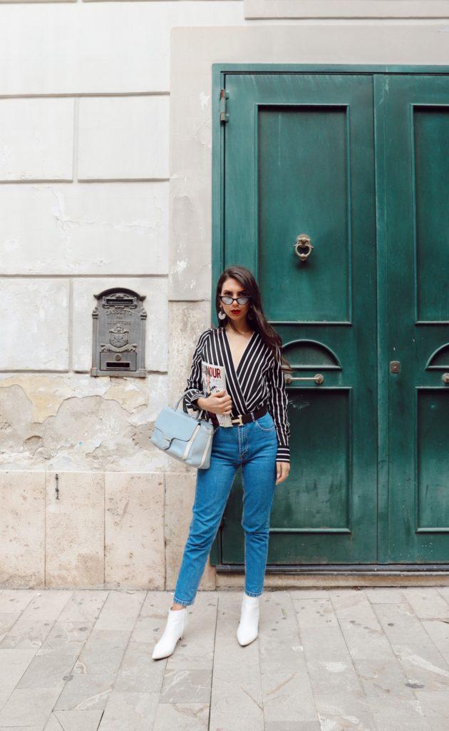 look jeans denim stivaletti camicia