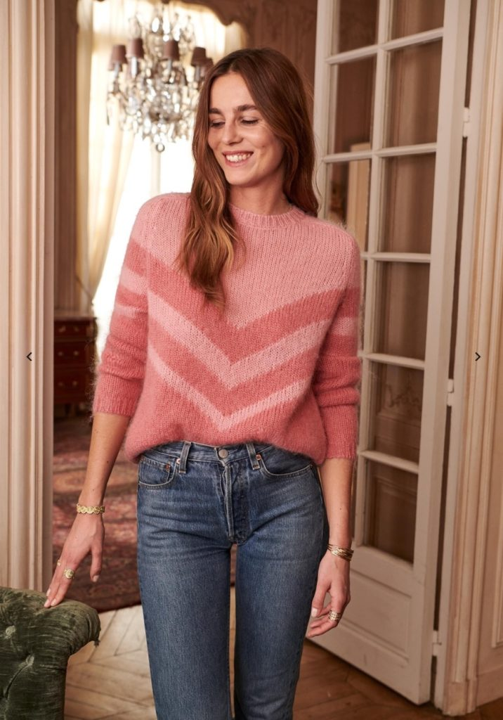 sezane living coral sweater